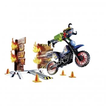 Playmobil Μηχανή Motocross Με Φλεγόμενο Τοίχο (70553)