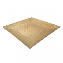 Πιατέλα Διακοσμητική Πλαστική Τετράγωνη Χρυσή Νερά